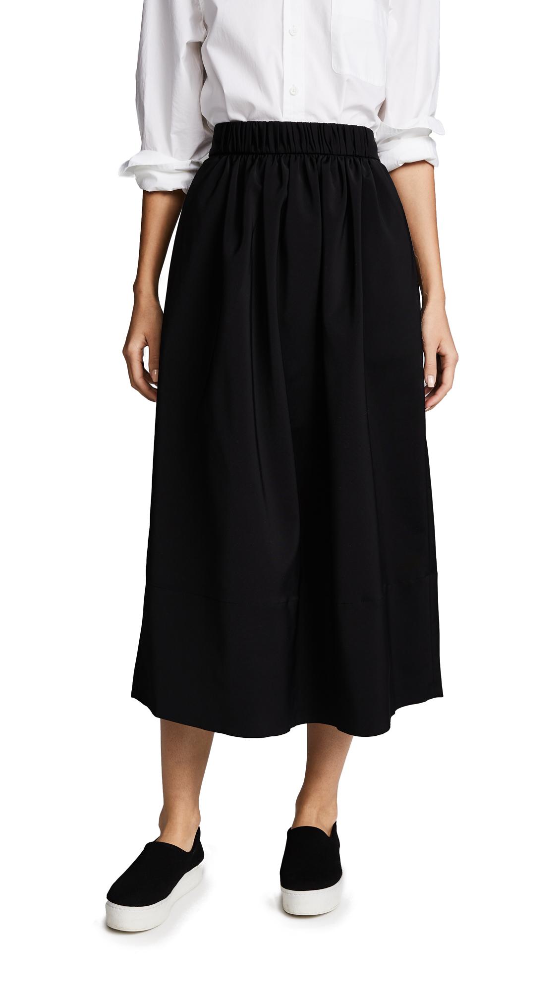Tibi Smocked Waistband Full Skirt - Black