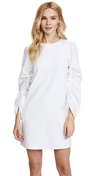 Tibi Shift Dress With Sculpted Sleeve In White