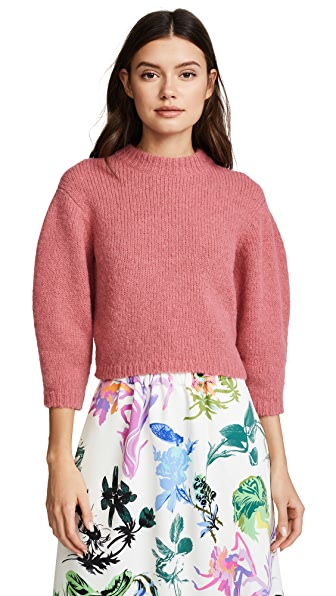 Tibi Cozette Cropped Pullover In Warm Pink