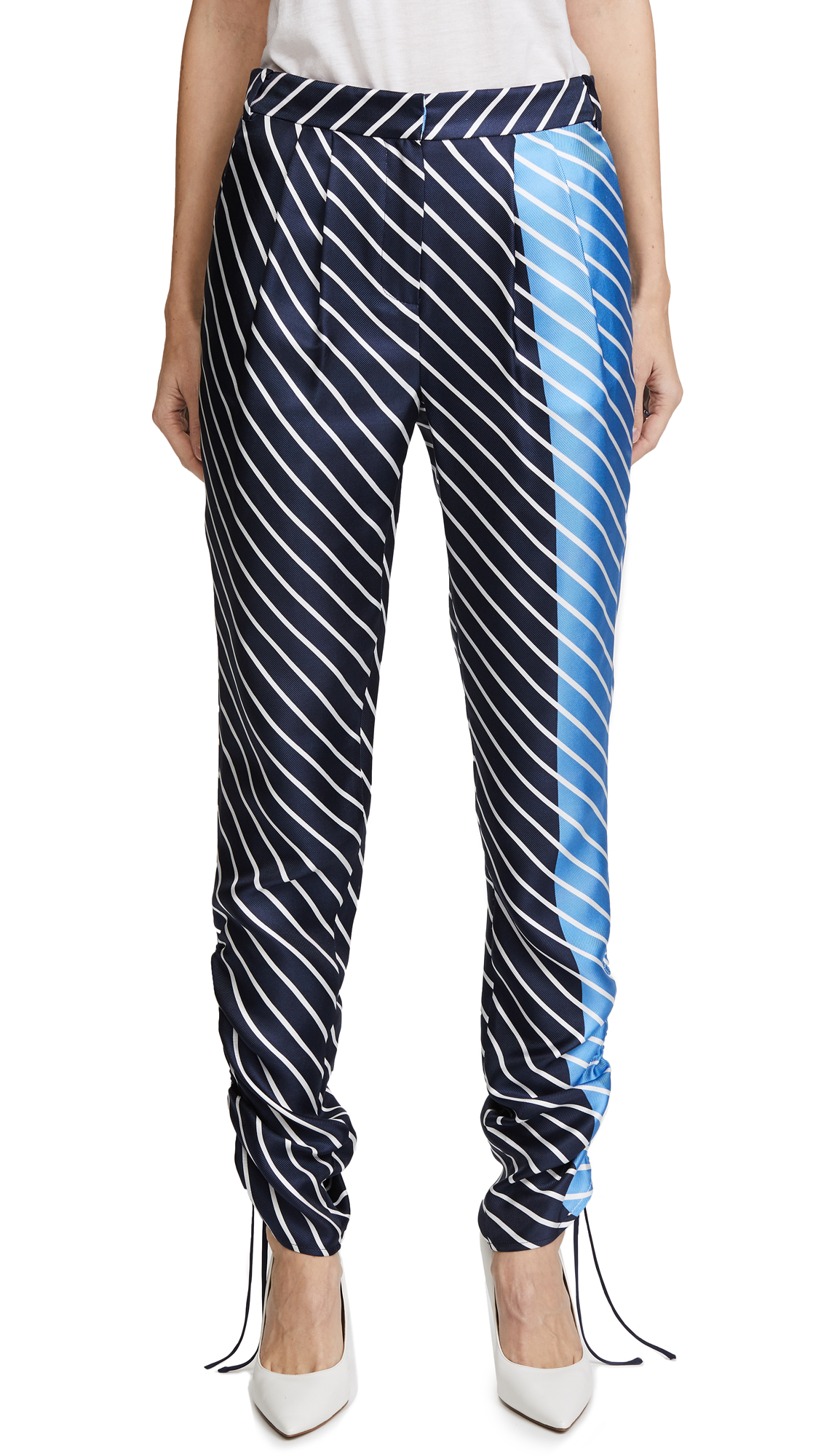 Tibi Shirred Pleat Pants - Navy/Multi