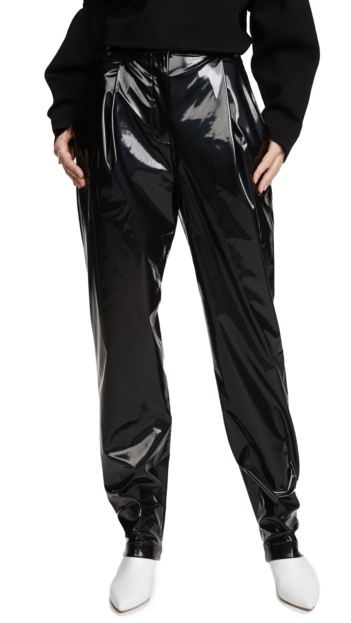 Tibi Patent Sculpted Pleat Pants - Black