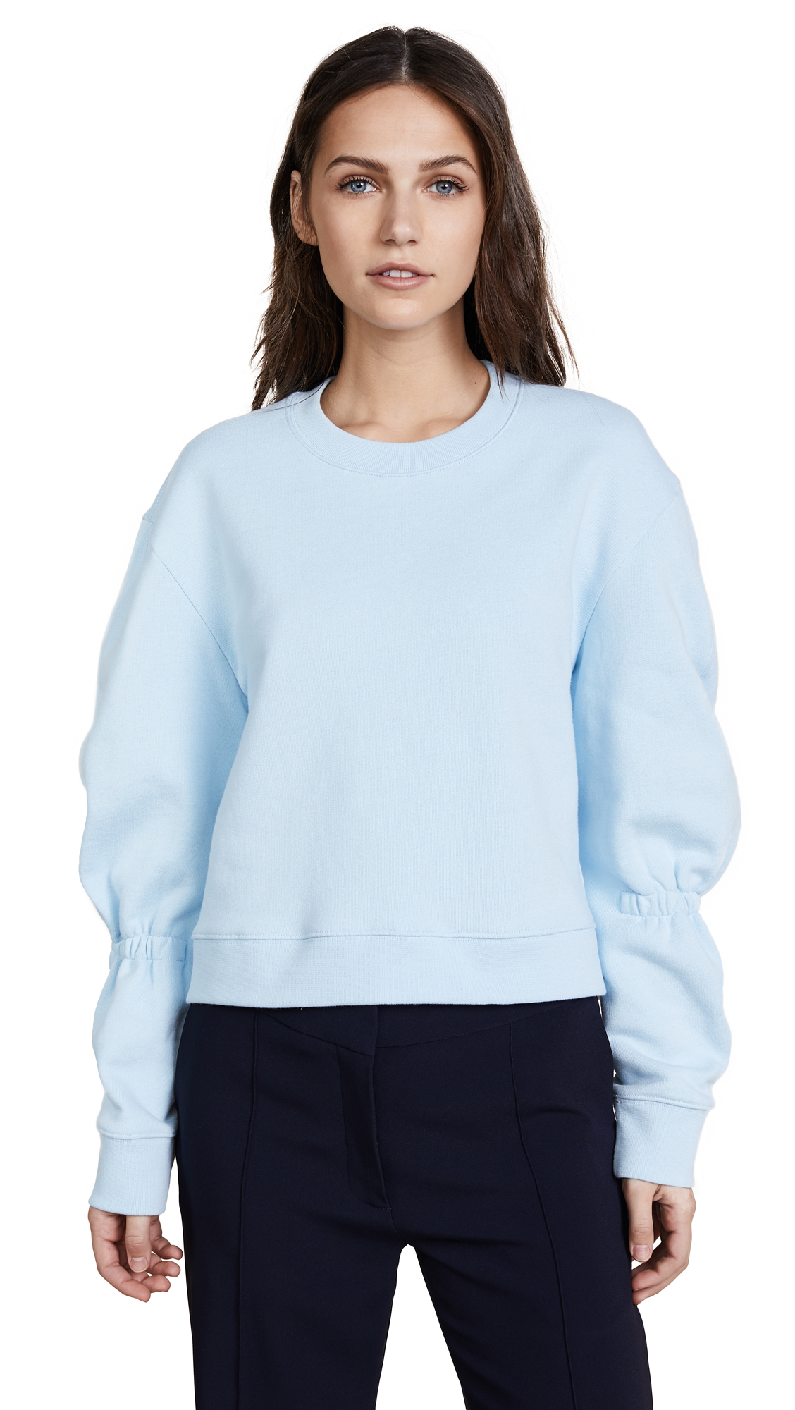 Tibi Sculpted Sleeve Sweatshirt In Baby Blue