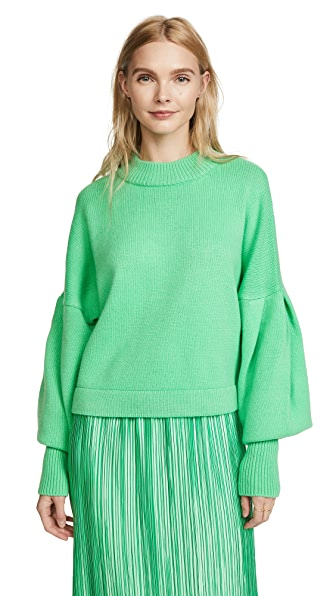 3f9b98705fb TIBI PLEATED SLEEVE CROPPED CASHMERE PULLOVER, KELLY GREEN