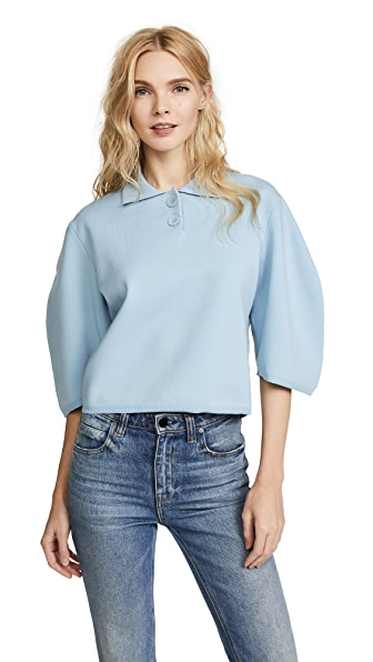 Tibi Sculpted Sleeve Polo Sweater In Soft Blue