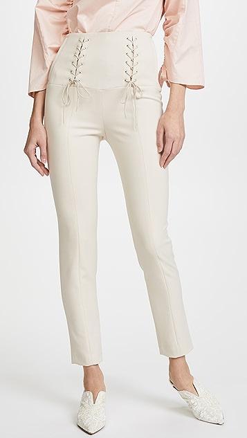 Tibi High Waisted Skinny Tie Pants