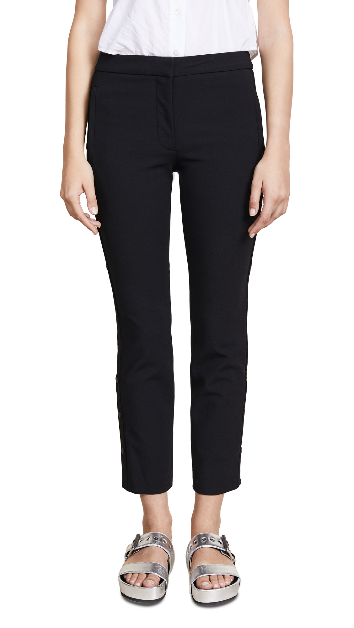 Tibi Anson Stretch Cropped Snap Skinny Pants - Black