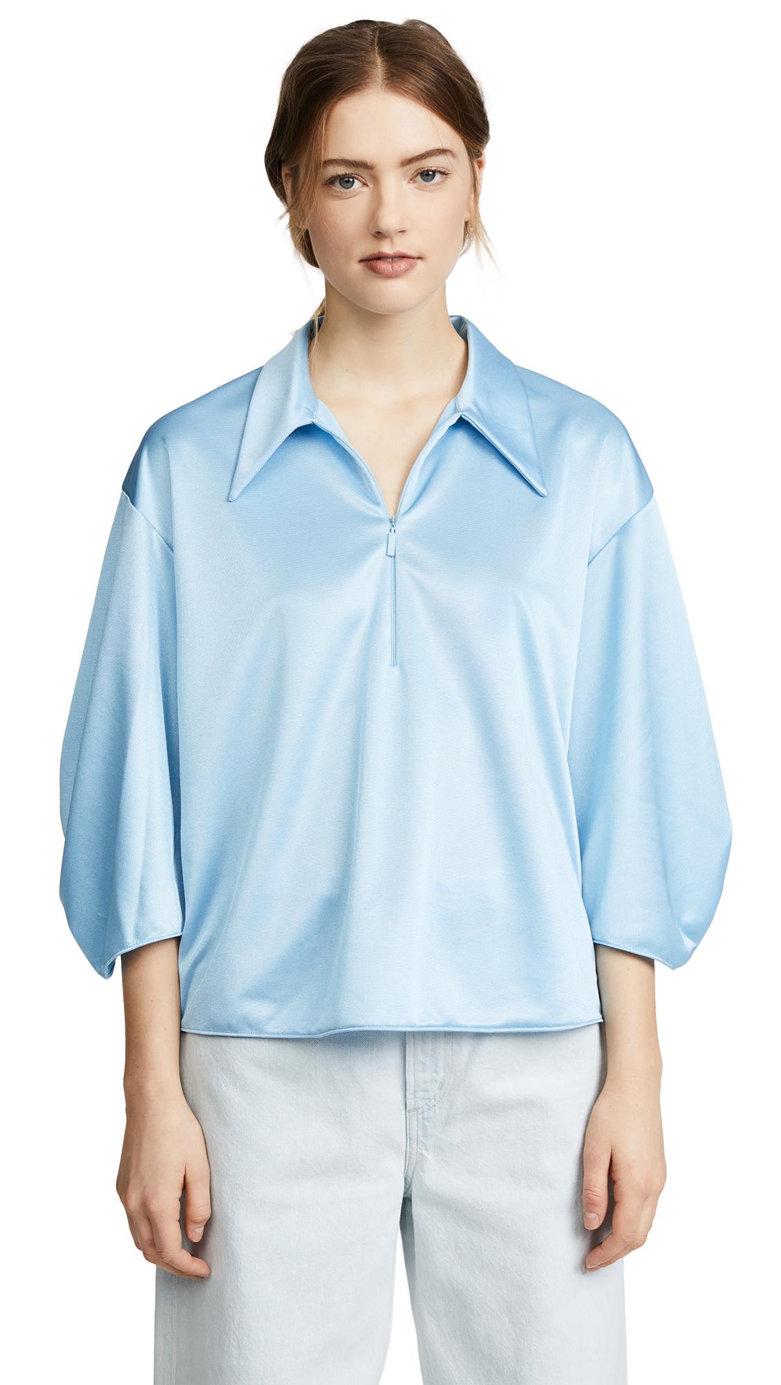 Tibi Tech Pique Zip Collar Top - Oxford Blue