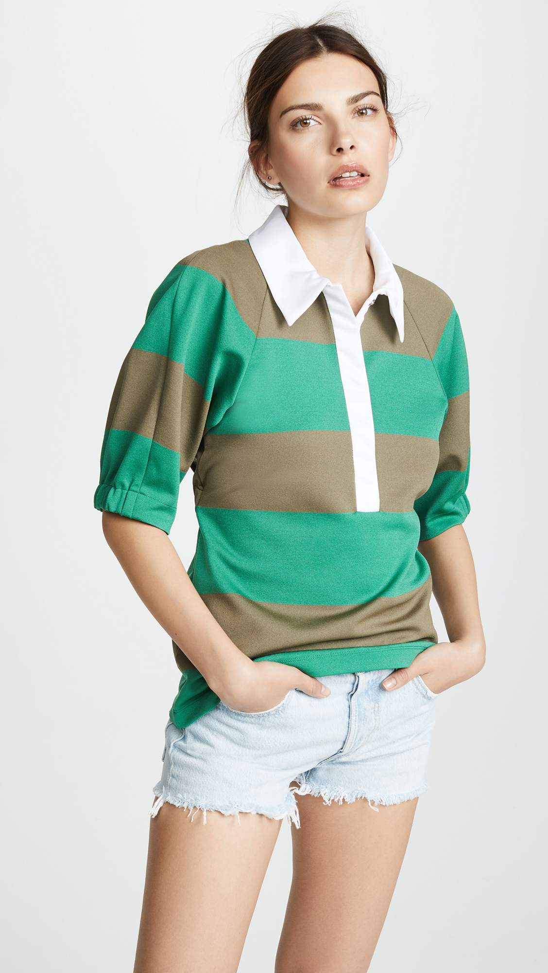7f4ee249665 Tibi Rugby Polo Top
