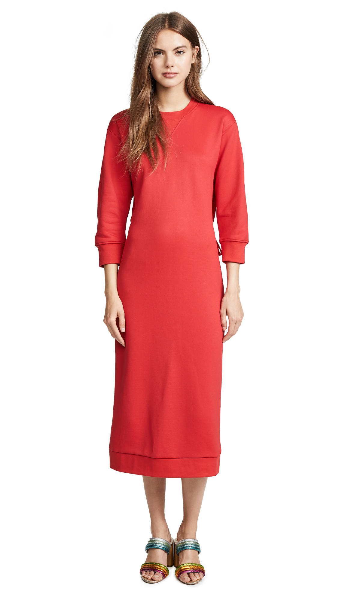 Cotton-Blend Sweatshirt Dress, Red