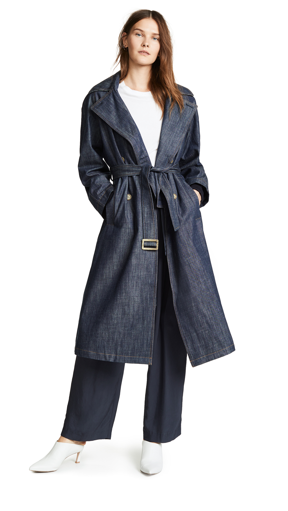 Tibi Trench Coat with Removable Collar - Marine Denim