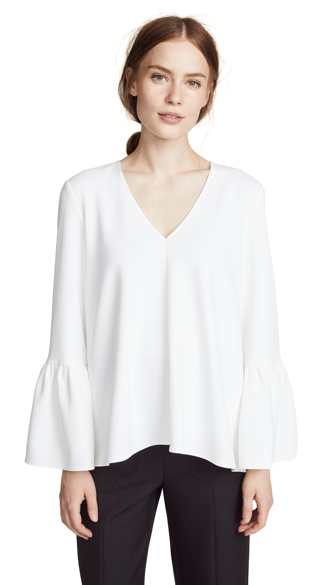 Tibi Ruffle Sleeve Top - White