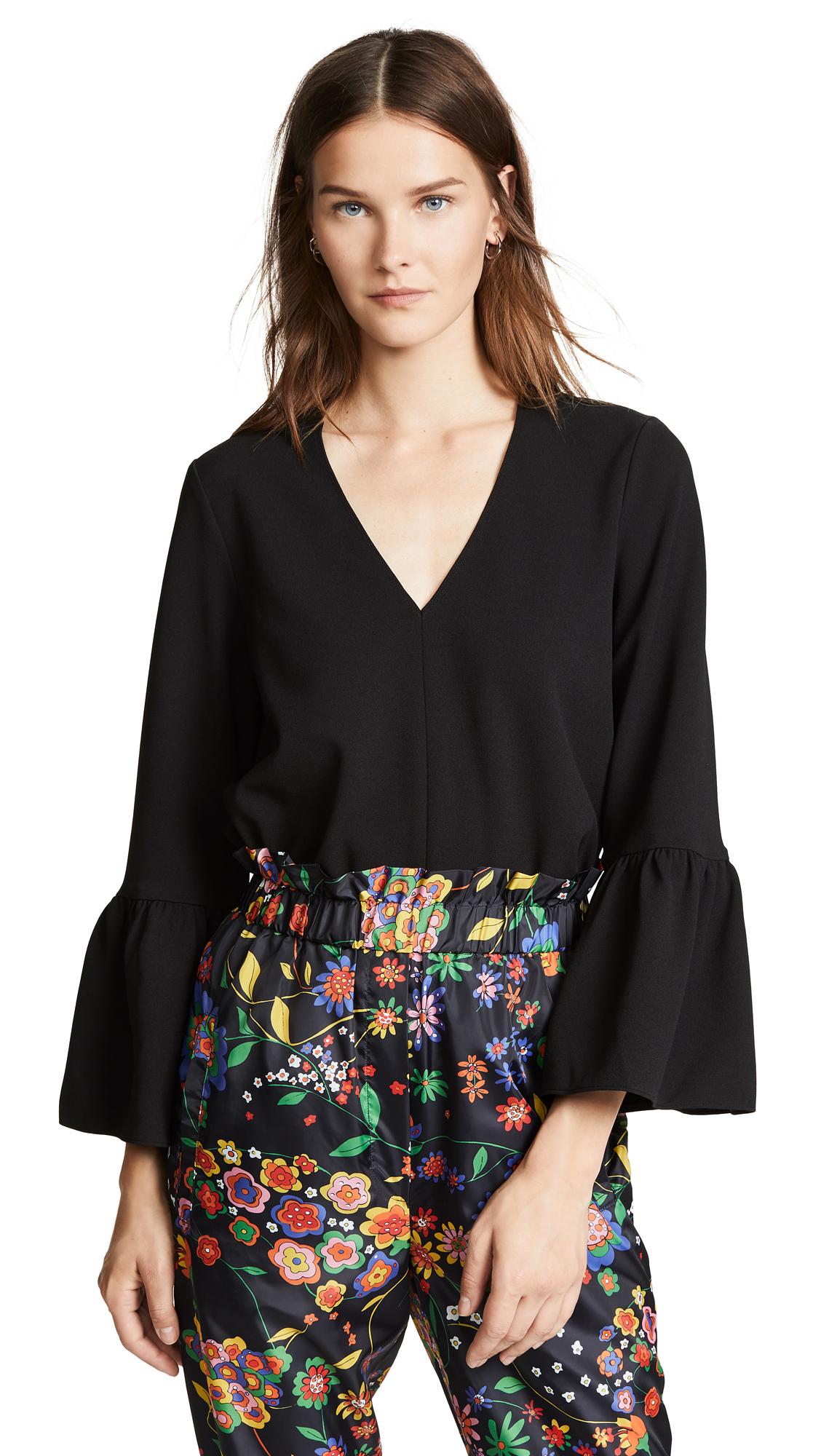Tibi Ruffle Sleeve Top In Black