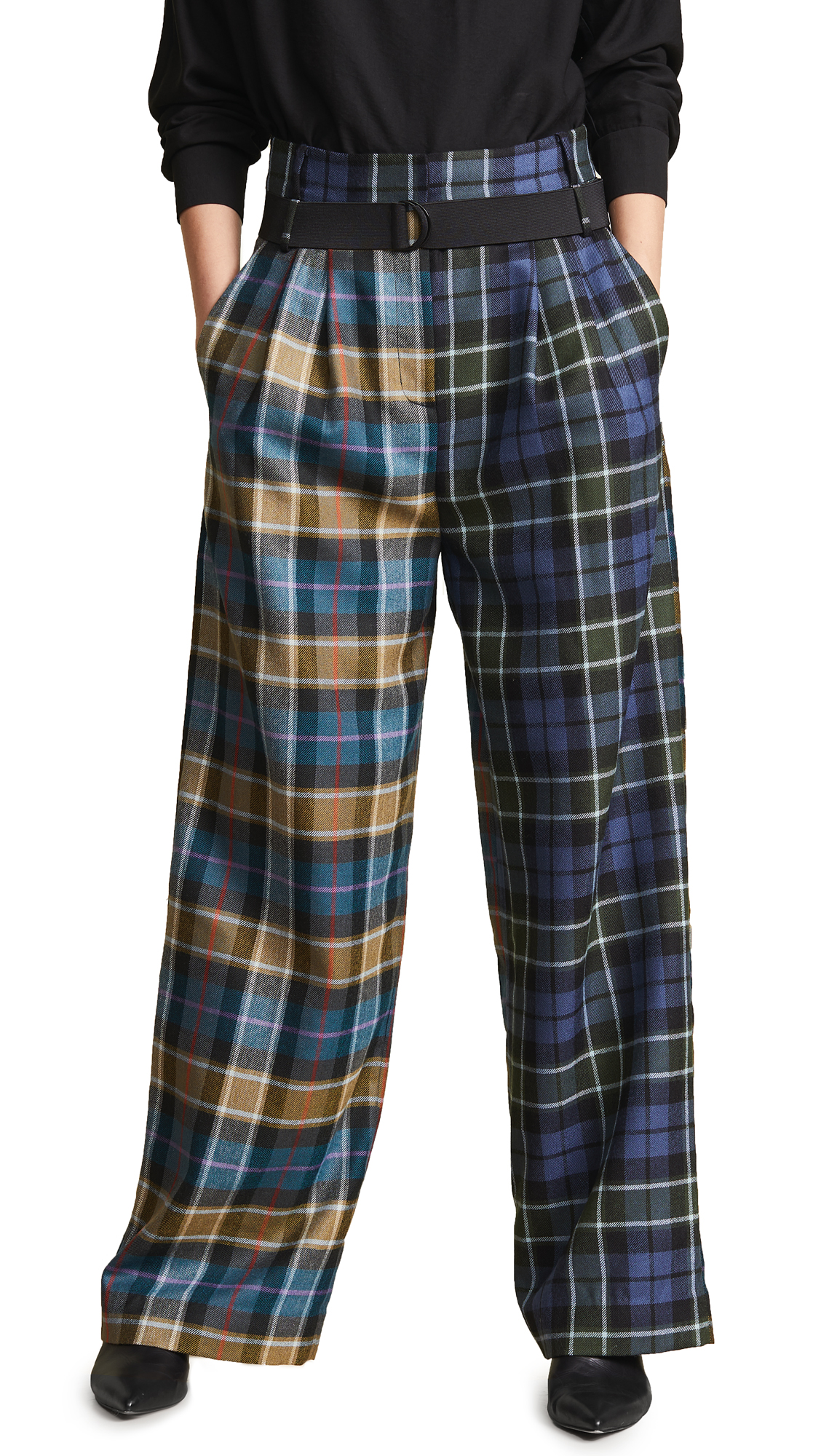 TIBI TARTAN PLEATED PANTS WITH BELT