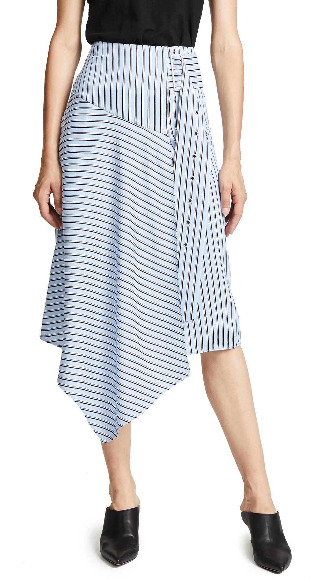 Tibi Asymmetrical Drape Skirt In Blue Multi