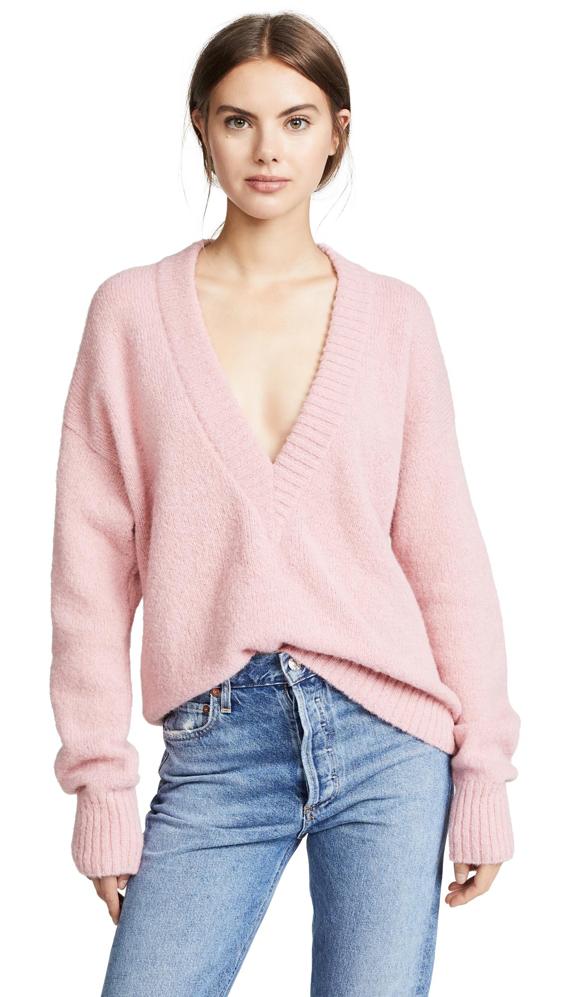 Tibi V Neck Pullover Sweater - Kuni Pink