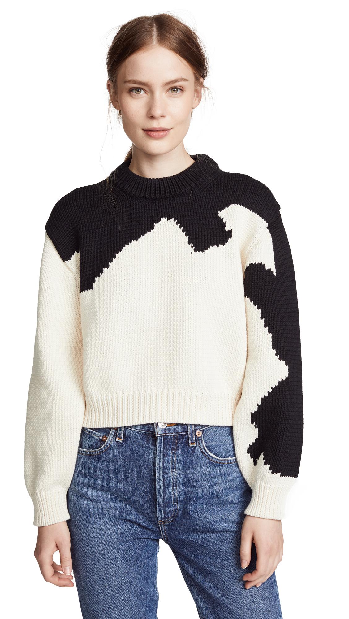 Intarsia Sweater, Beige/Black Multi