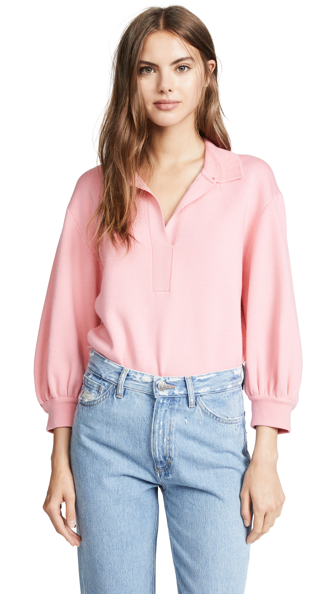 Tibi Bell Sleeve Pullover Sweater In Pink