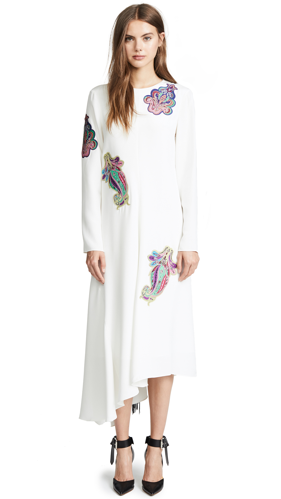 Tibi Silk Paisley Patch Asymmetrical Dress