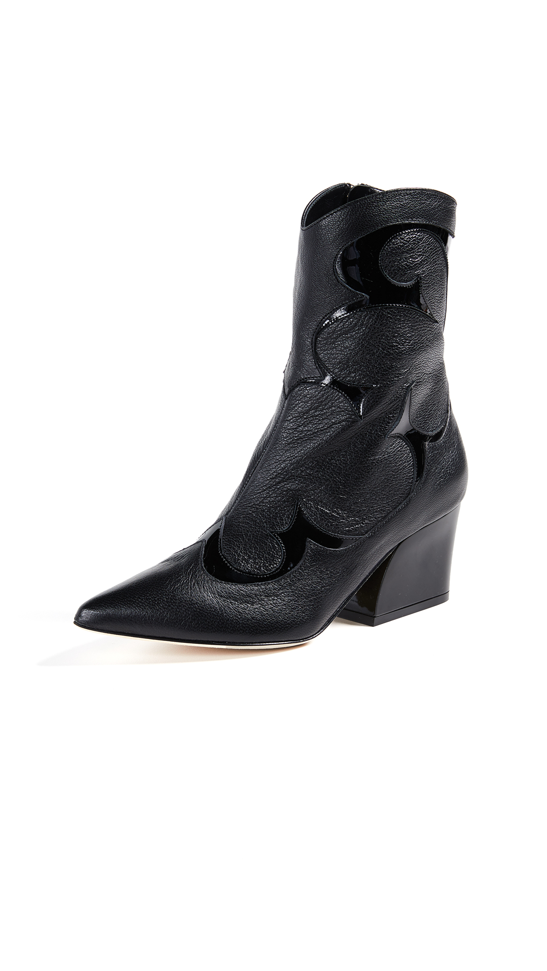 Felix Patent-Trimmed Leather Ankle Boots, Black