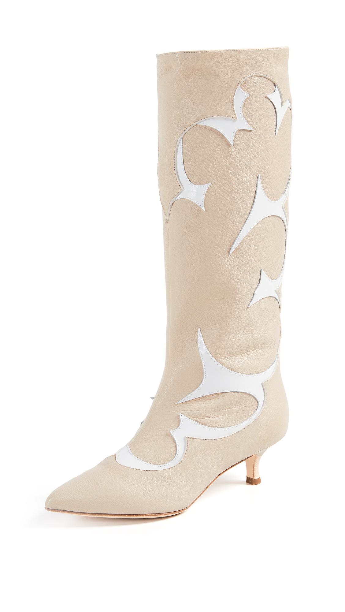Tibi Jagger Boots - Natural/White Multi