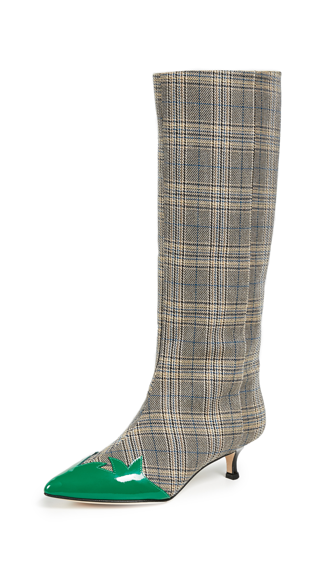 Tibi Evin Boots - Tan/Blue Plaid/Kelly Green