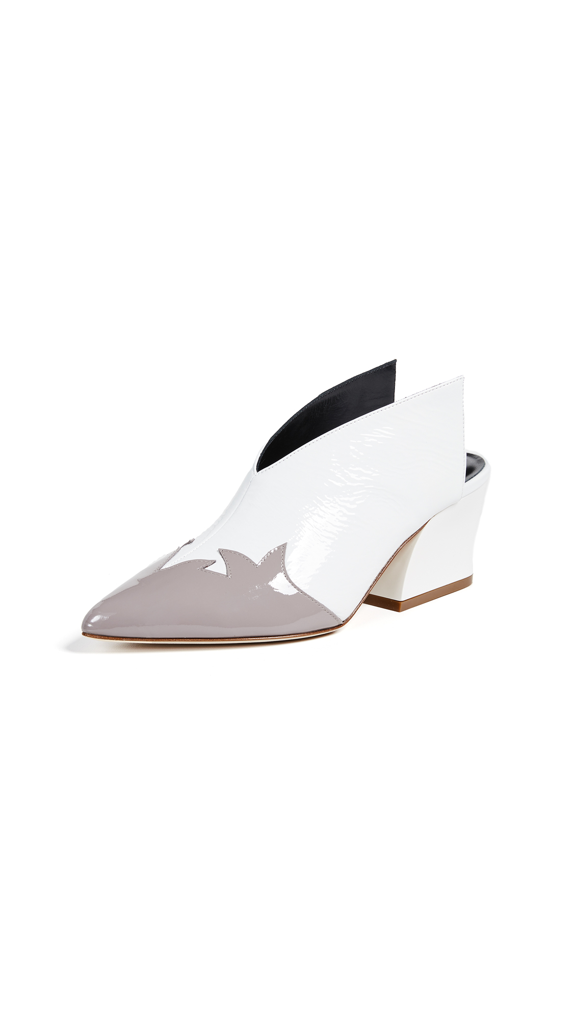 Tibi Floyd Mules - Bright White/Grey Multi