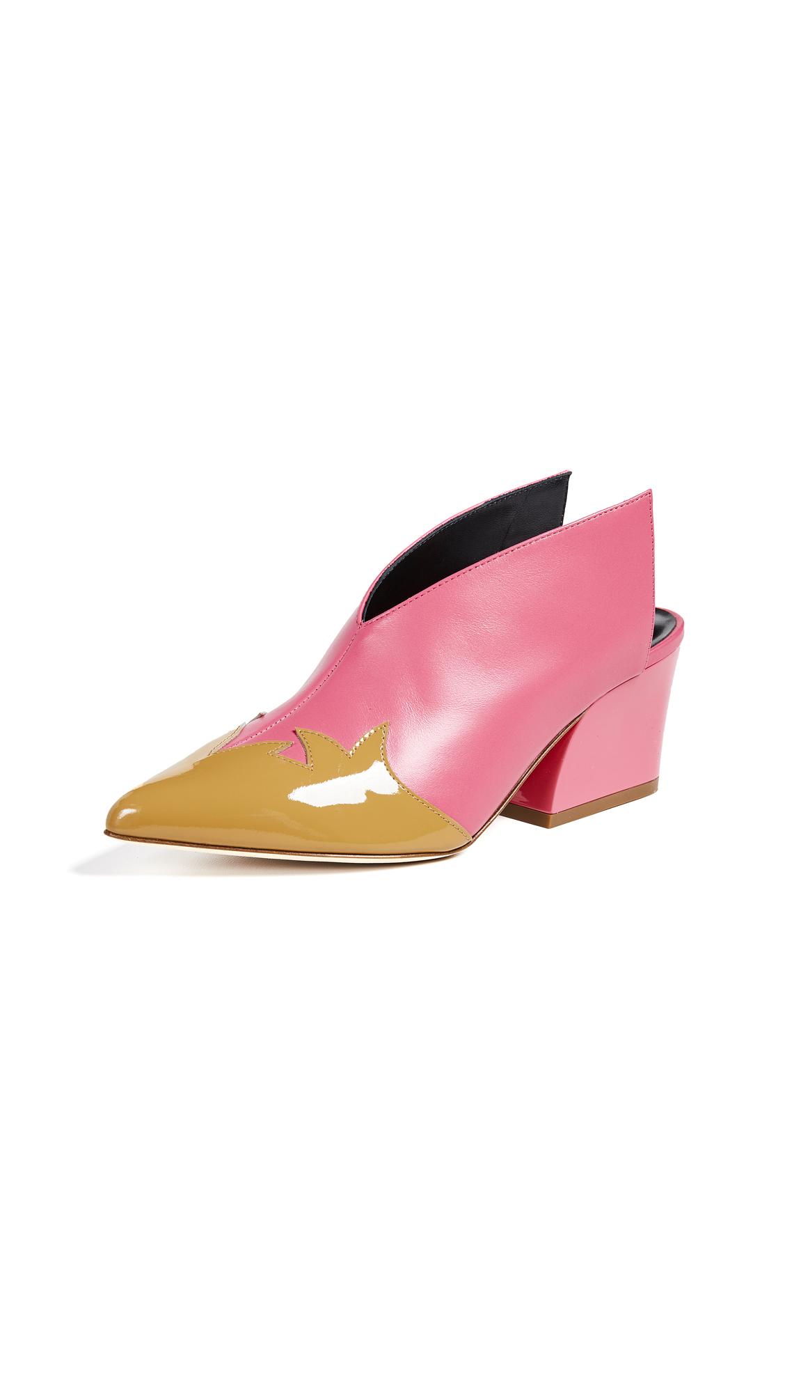 Tibi Floyd Mules - Pink/Taupe Multi