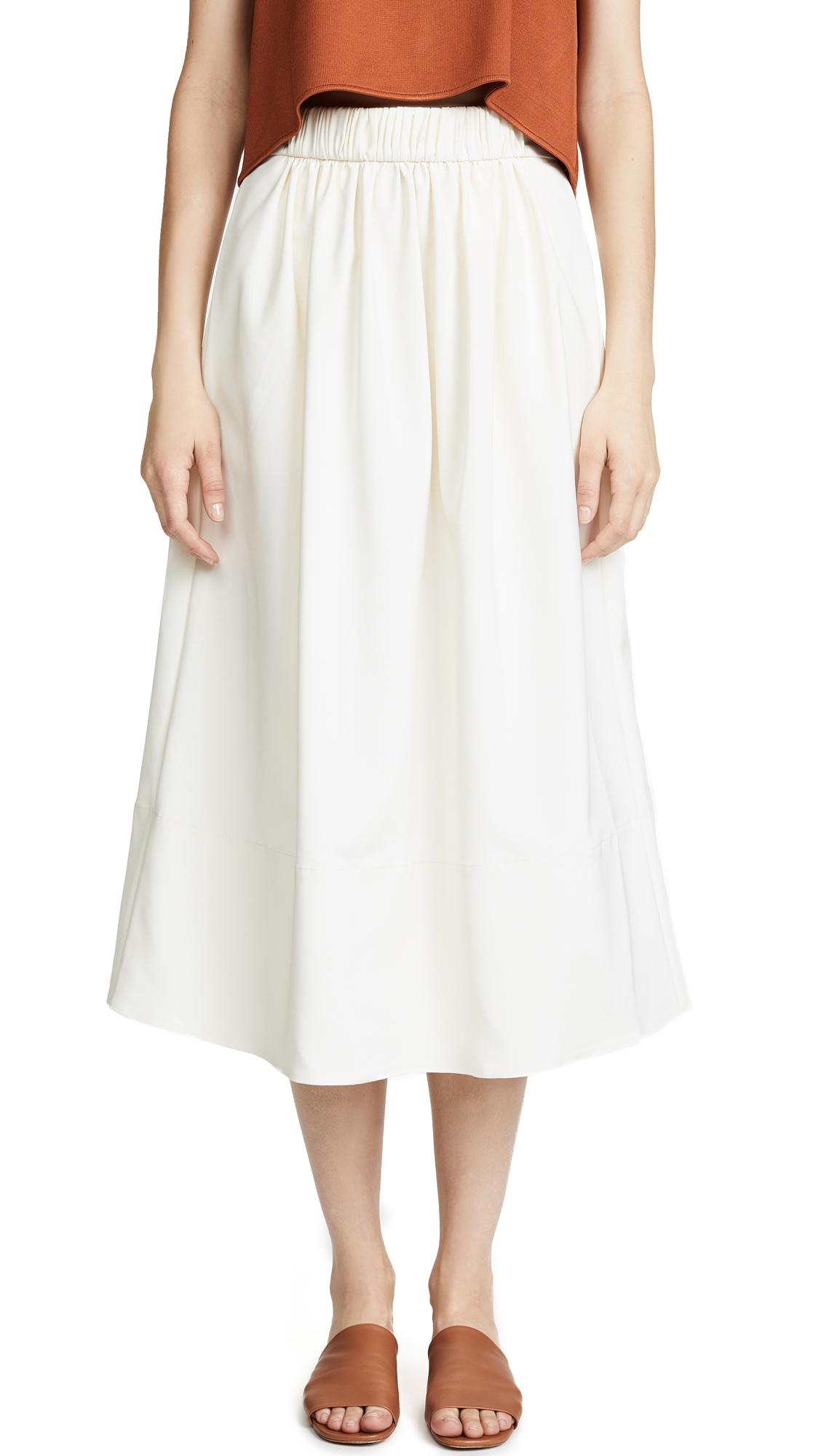 Tibi Smocked Waist Skirt - Ivory