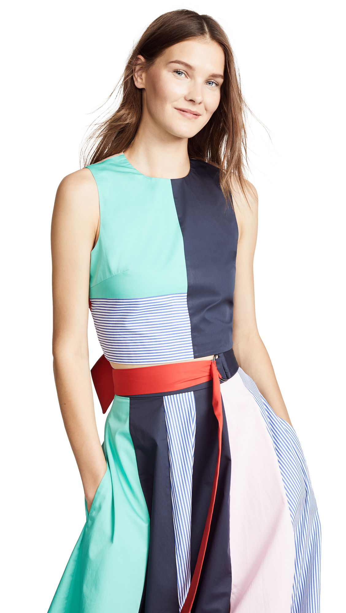 Tibi Colorblock Tie Back Top In Mint Multi