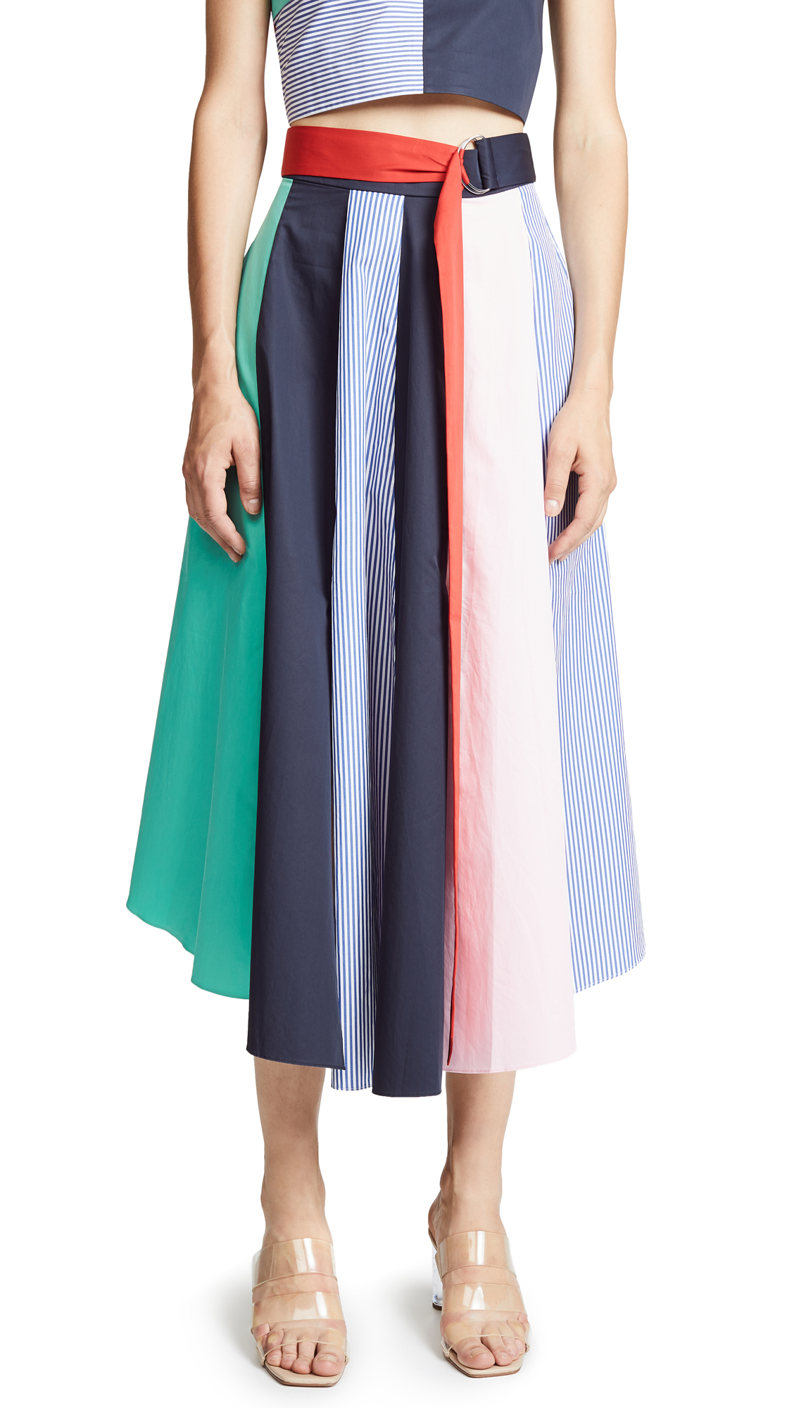 Tibi Tie Skirt In Mint Multi