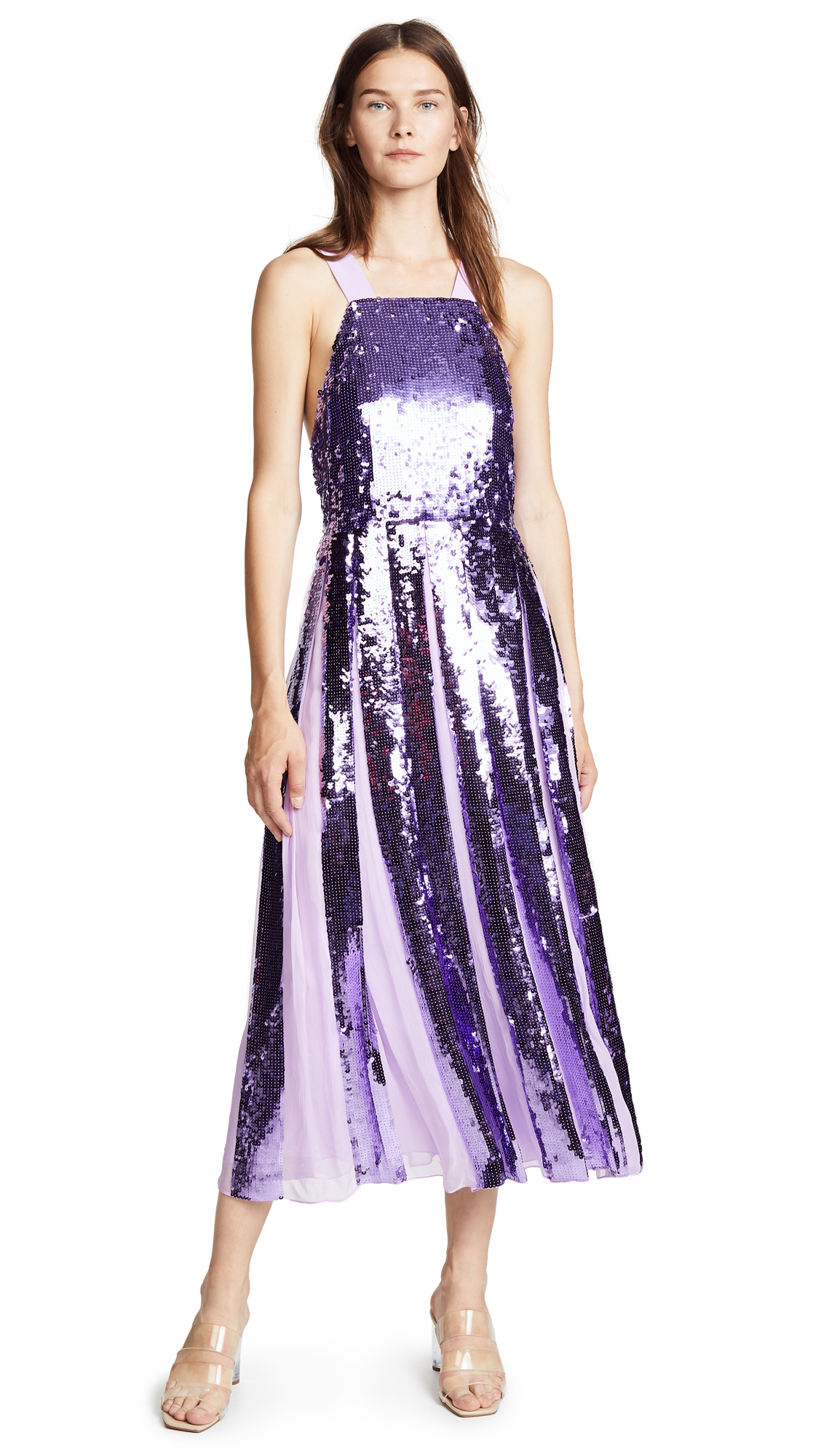 Tibi Sequin Overall Dress - Lavender