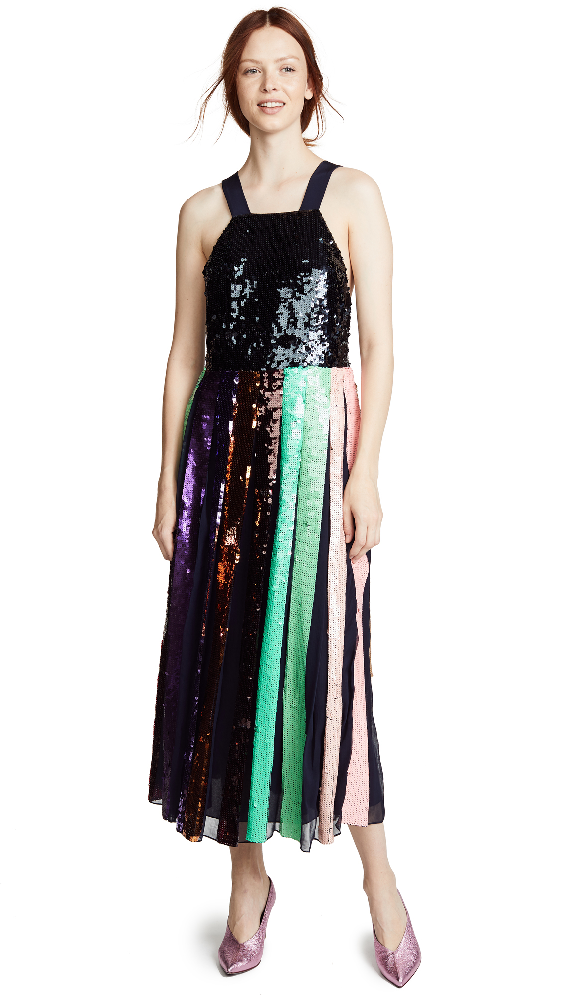 Tibi Beaded Sequin Overall Dress - Stripe Multi