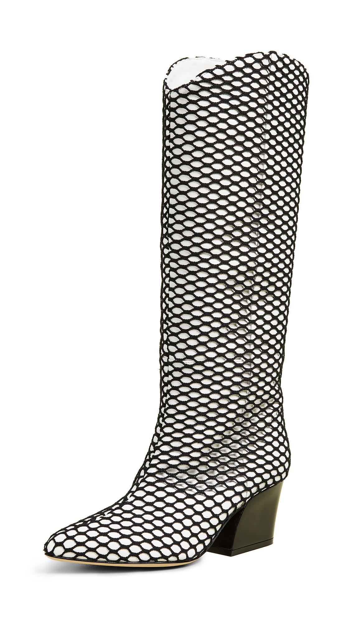 Tibi Logan Boots - White/Black Multi