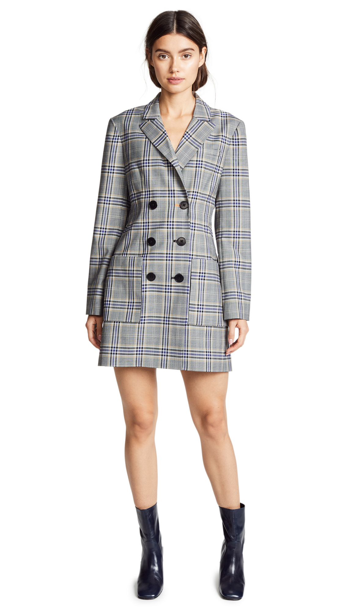 Tibi Lucas Double Breasted Blazer Dress In Black Multi