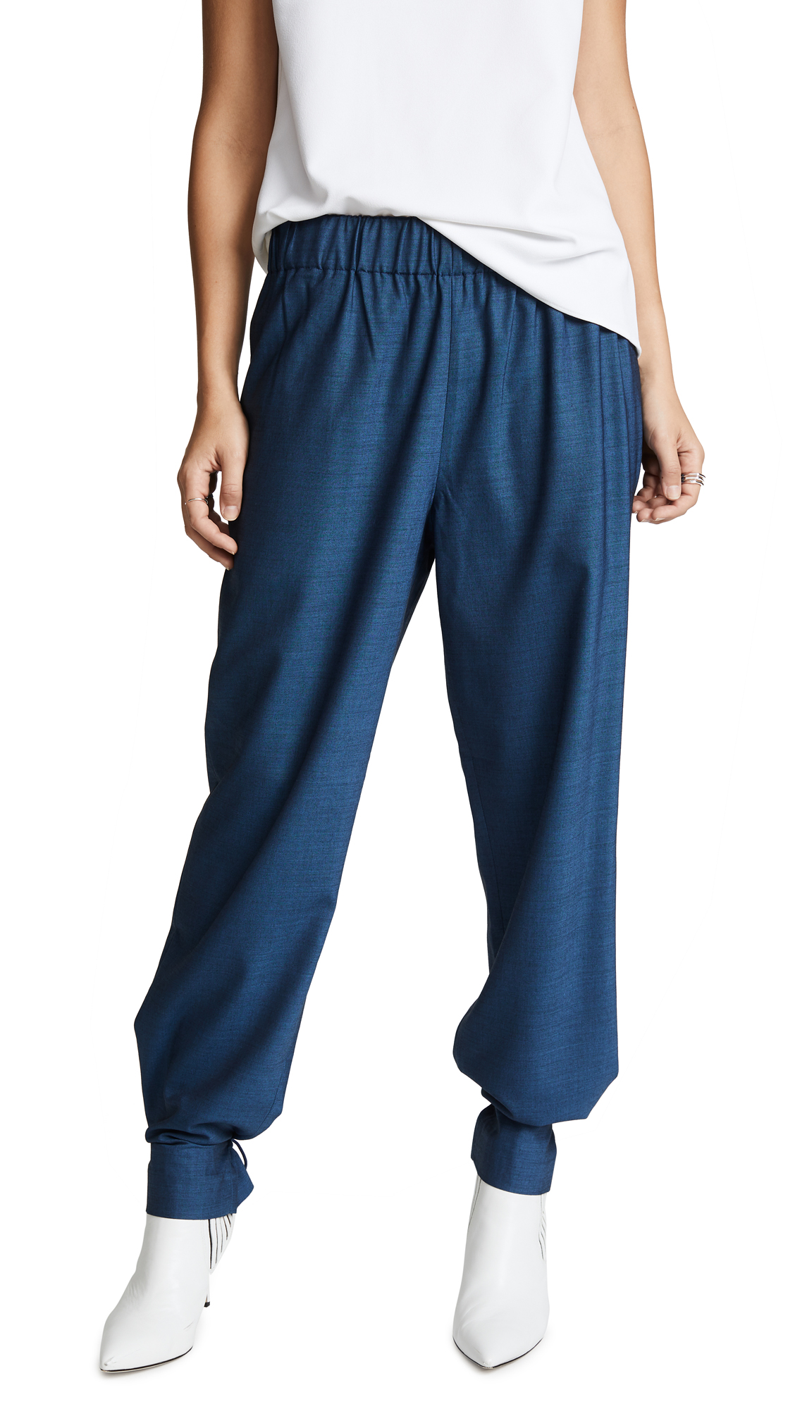 Tibi Easy Pull On Pants In Oxford Blue