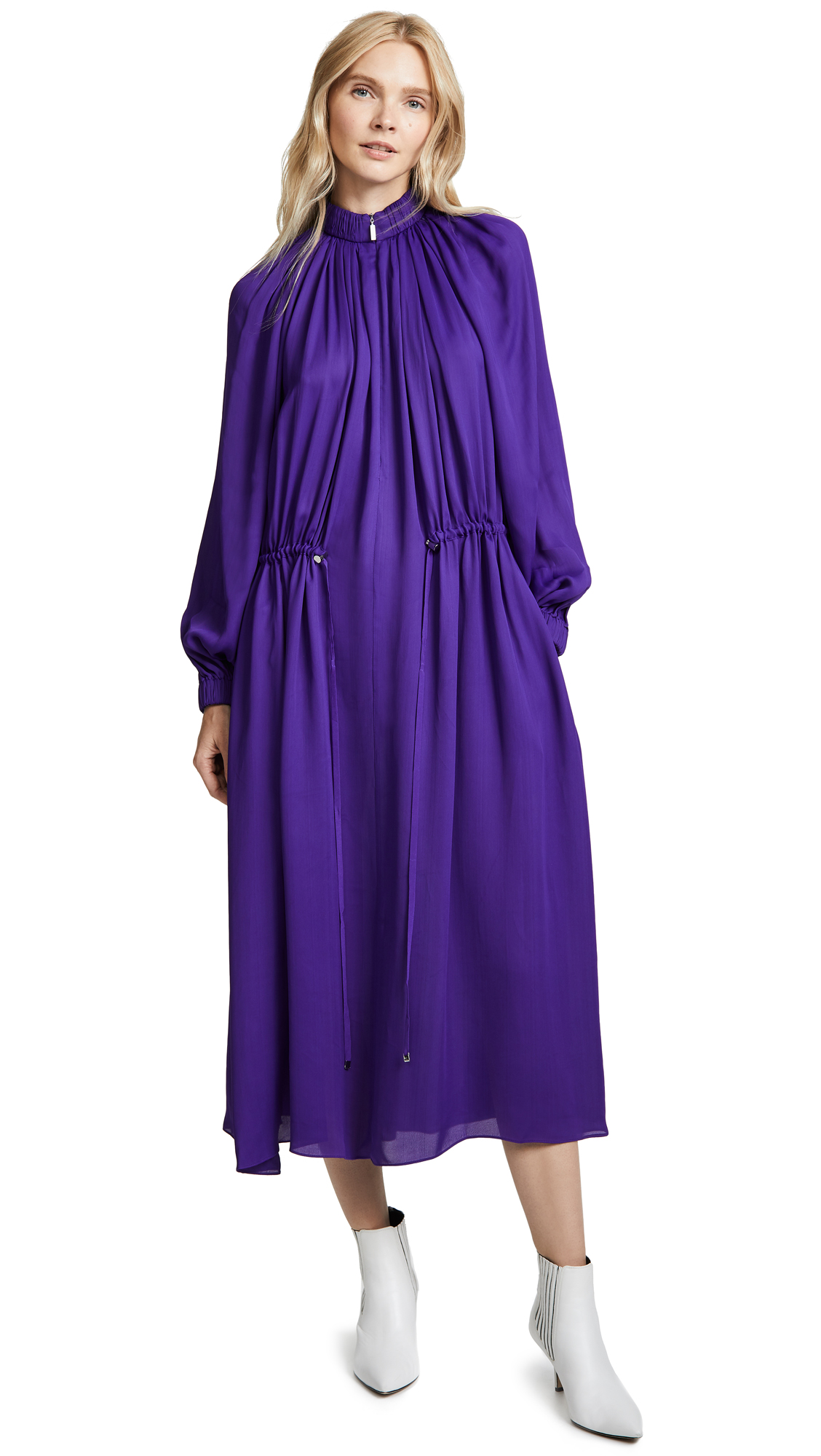 Tibi Drawstring Maxi Dress - Indigo Purple