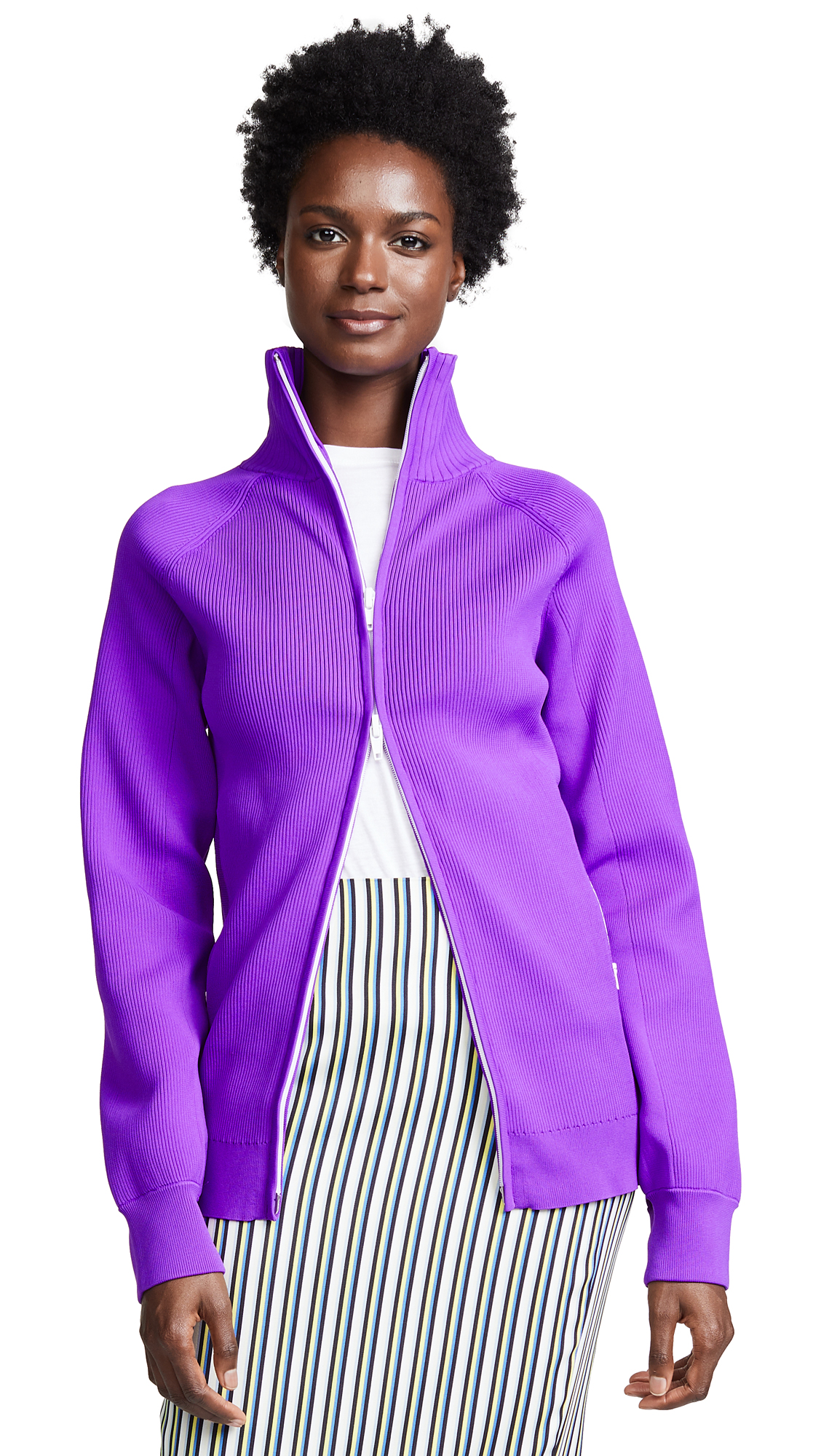 Tibi Track Zip Cardigan - Purple