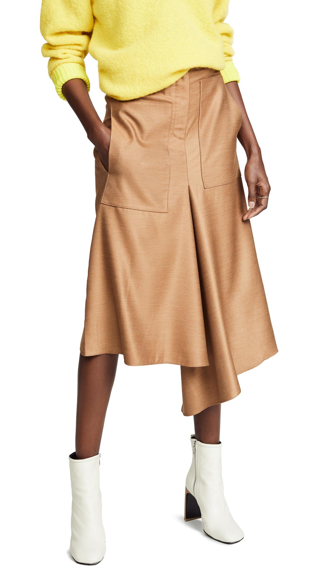 Tibi High Waisted Drape Skirt In Camel