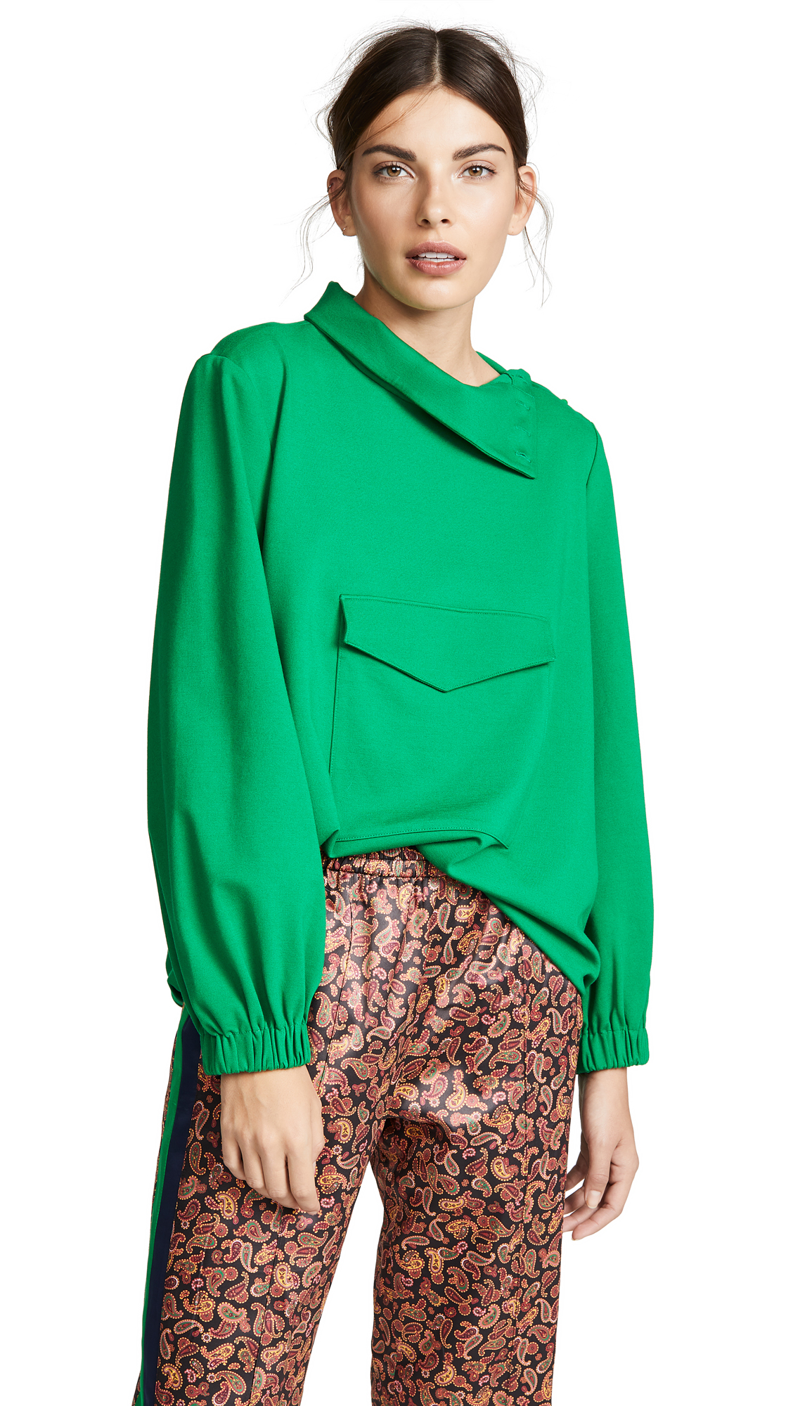 Funnel Neck Top in Green