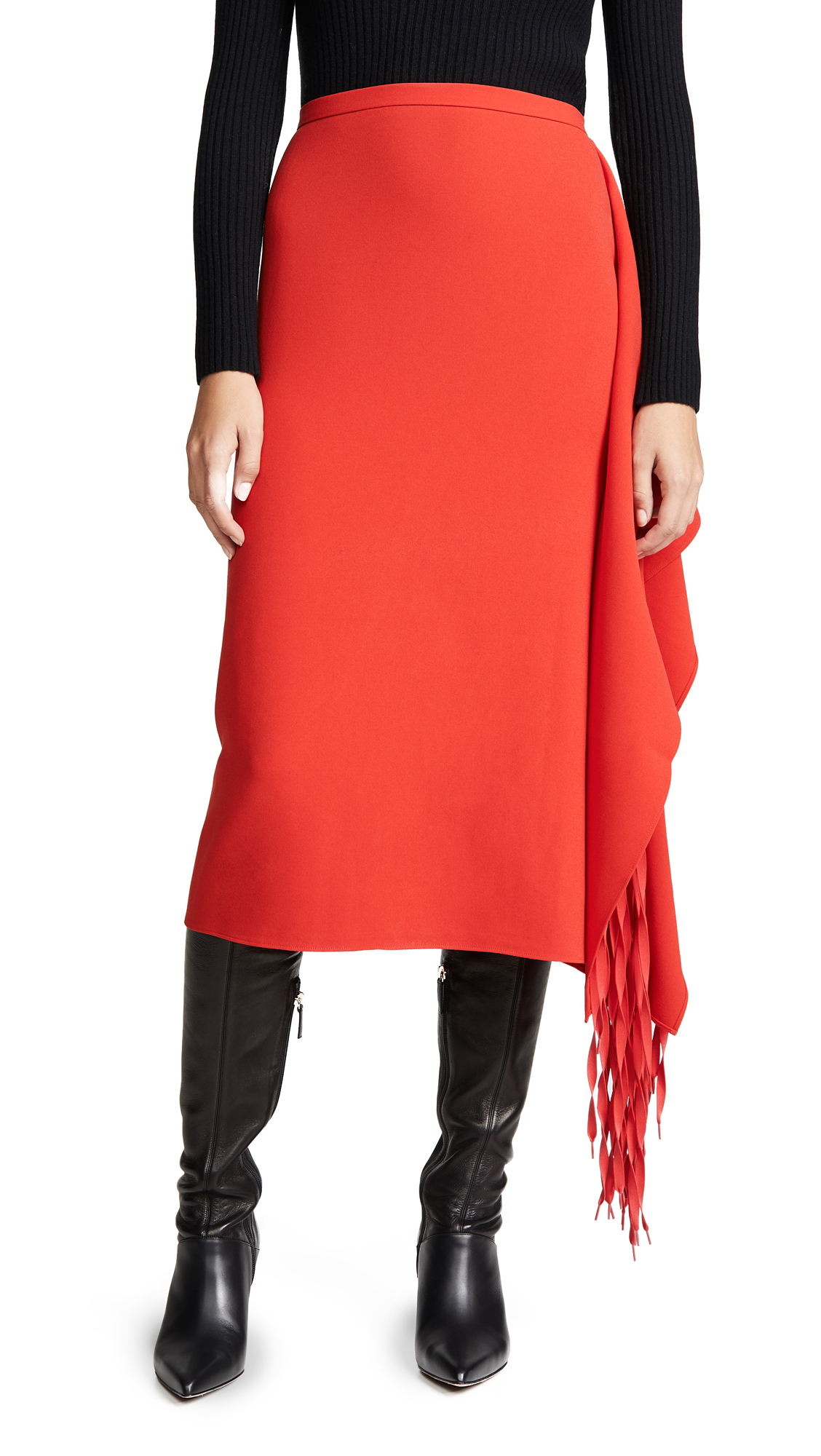 Tibi Fringe Skirt In Red