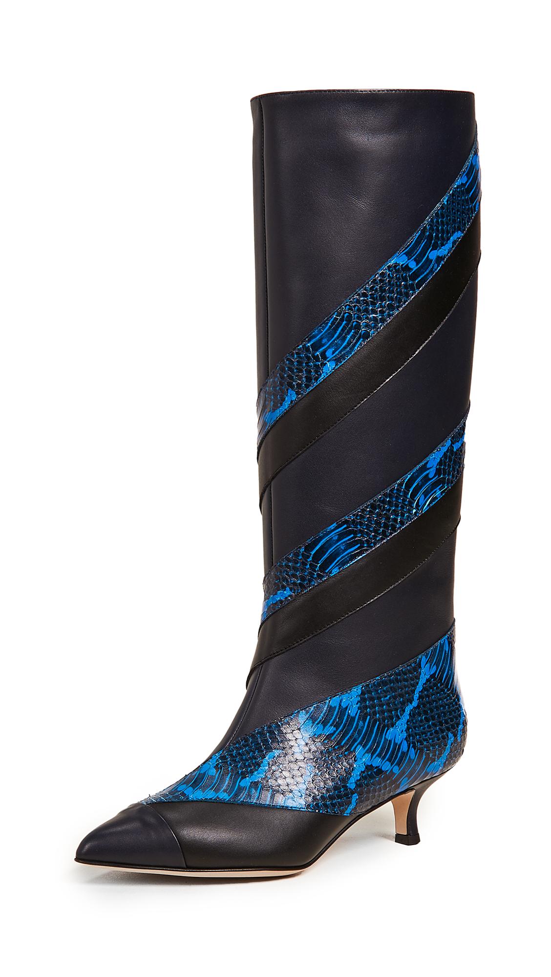 Tibi Hart Boots - Dark Electric Blue Multi