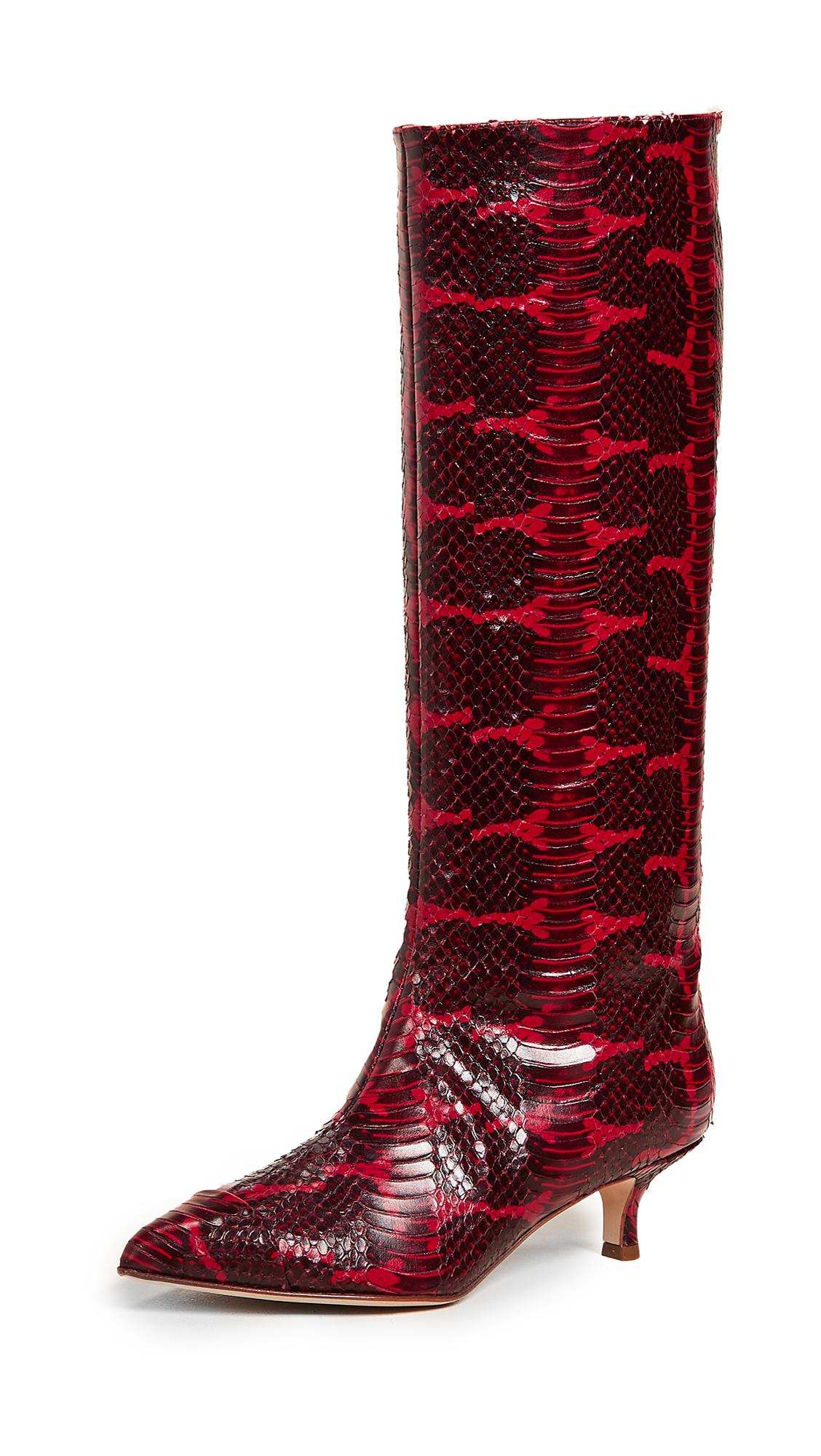 Tibi Hart Boots - Cherry Red