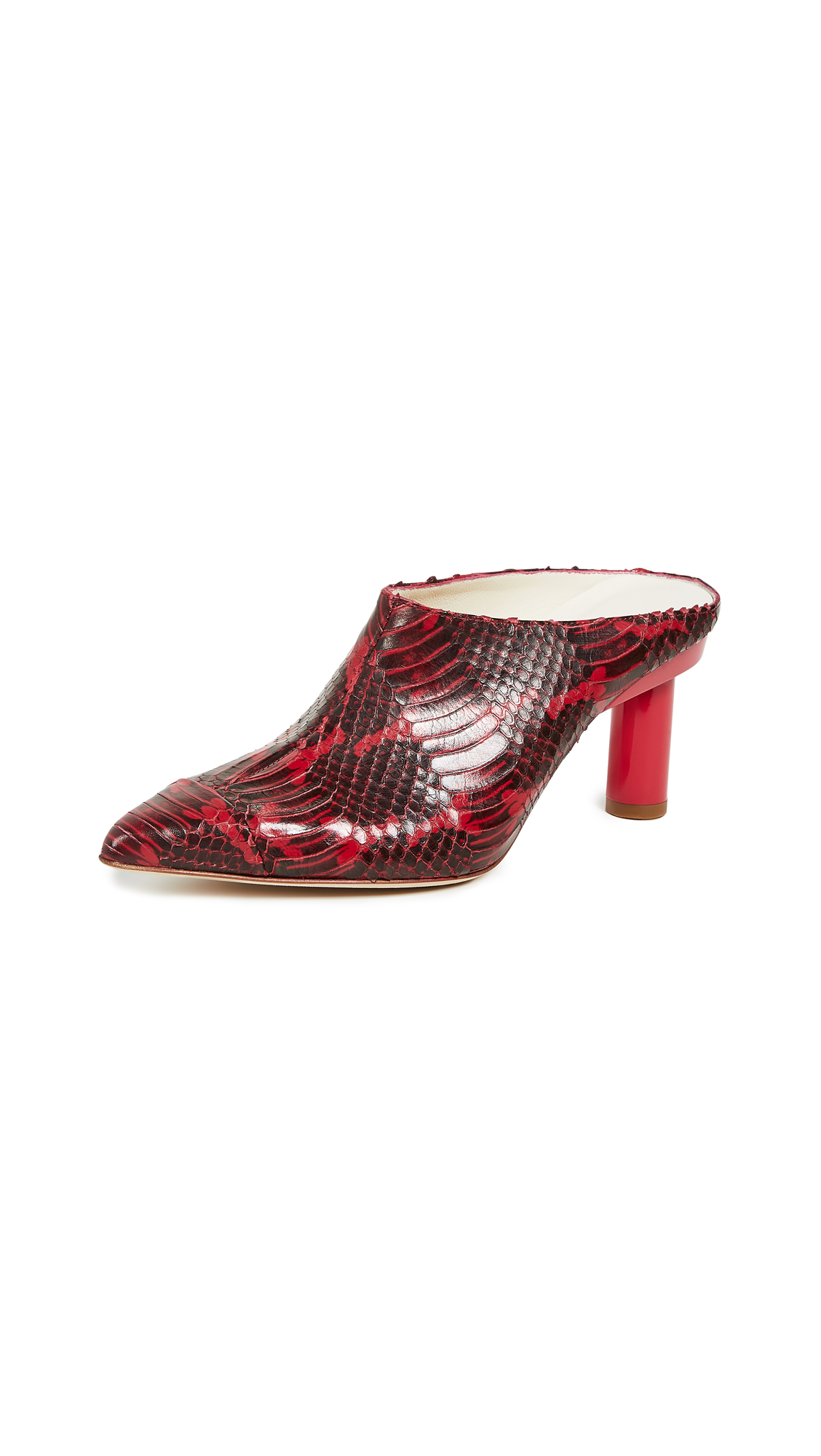 Joel Pedestal Heel Mule in Cherry Red
