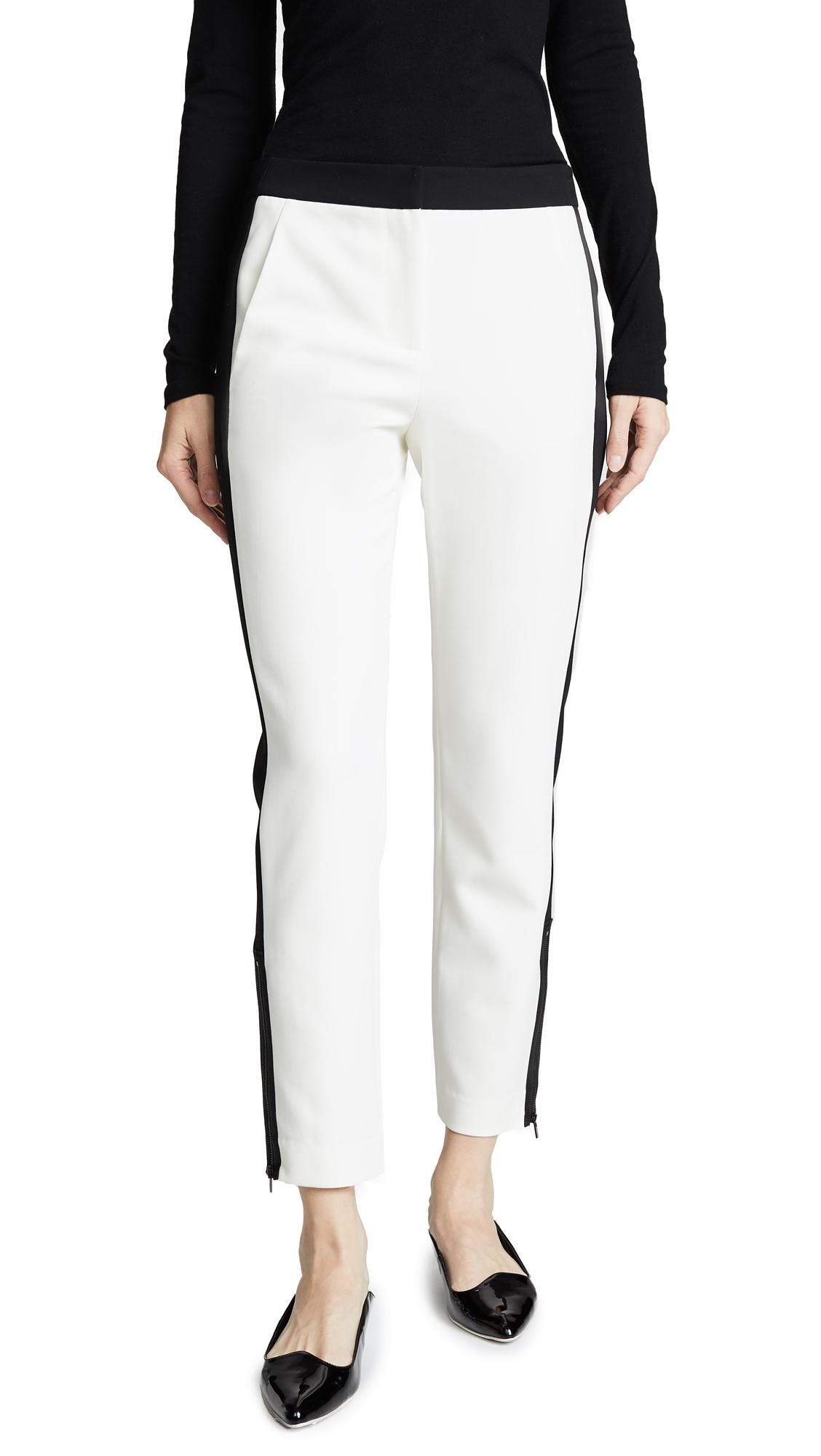 Tibi Skinny Tuxedo Pants - Ivory
