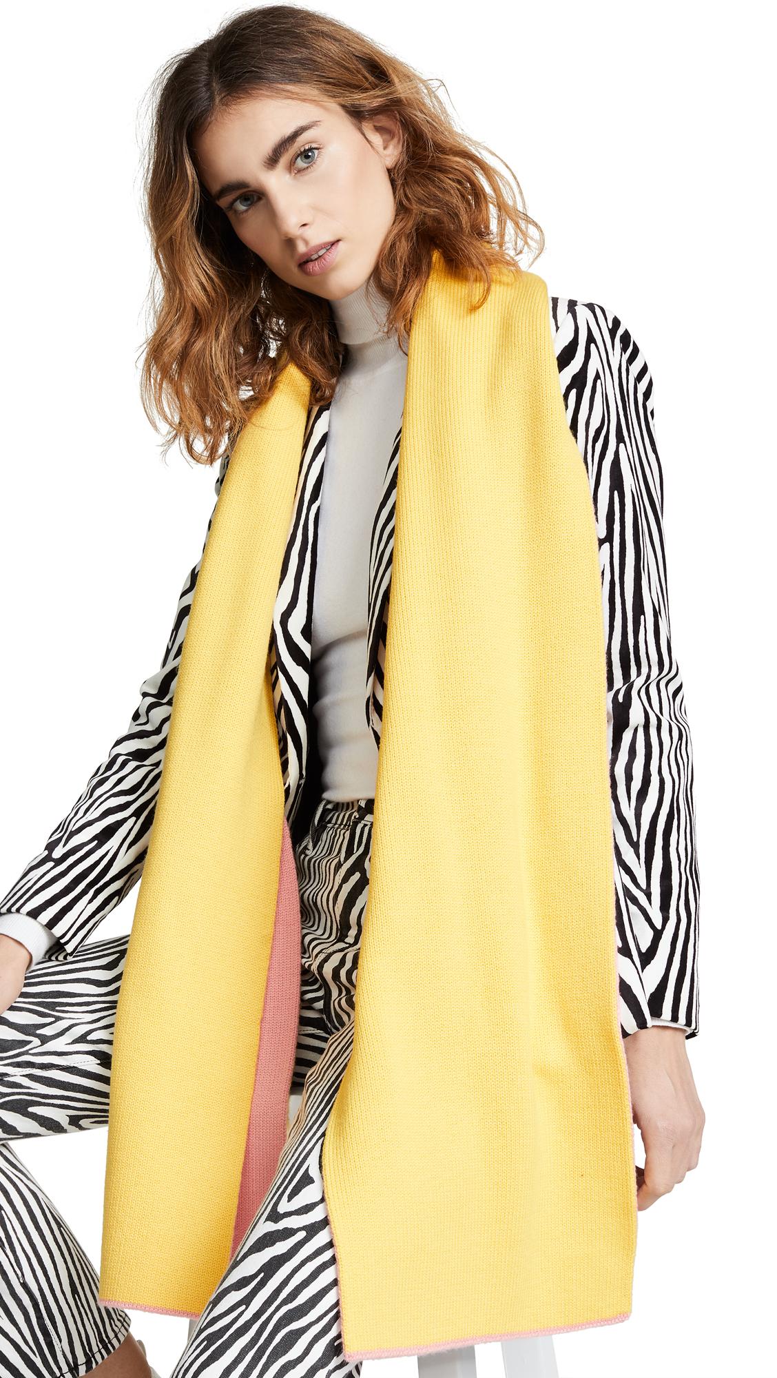 Tibi Reversible Double Jacquard Wool Scarf - Pink/Yellow