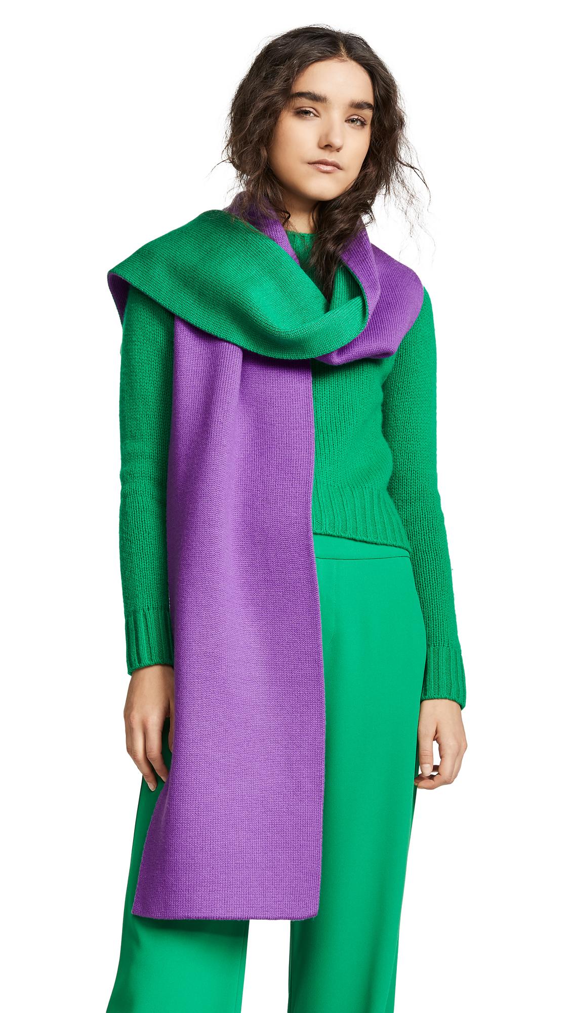 Tibi Reversible Double Jacquard Wool Scarf - Purple/Green