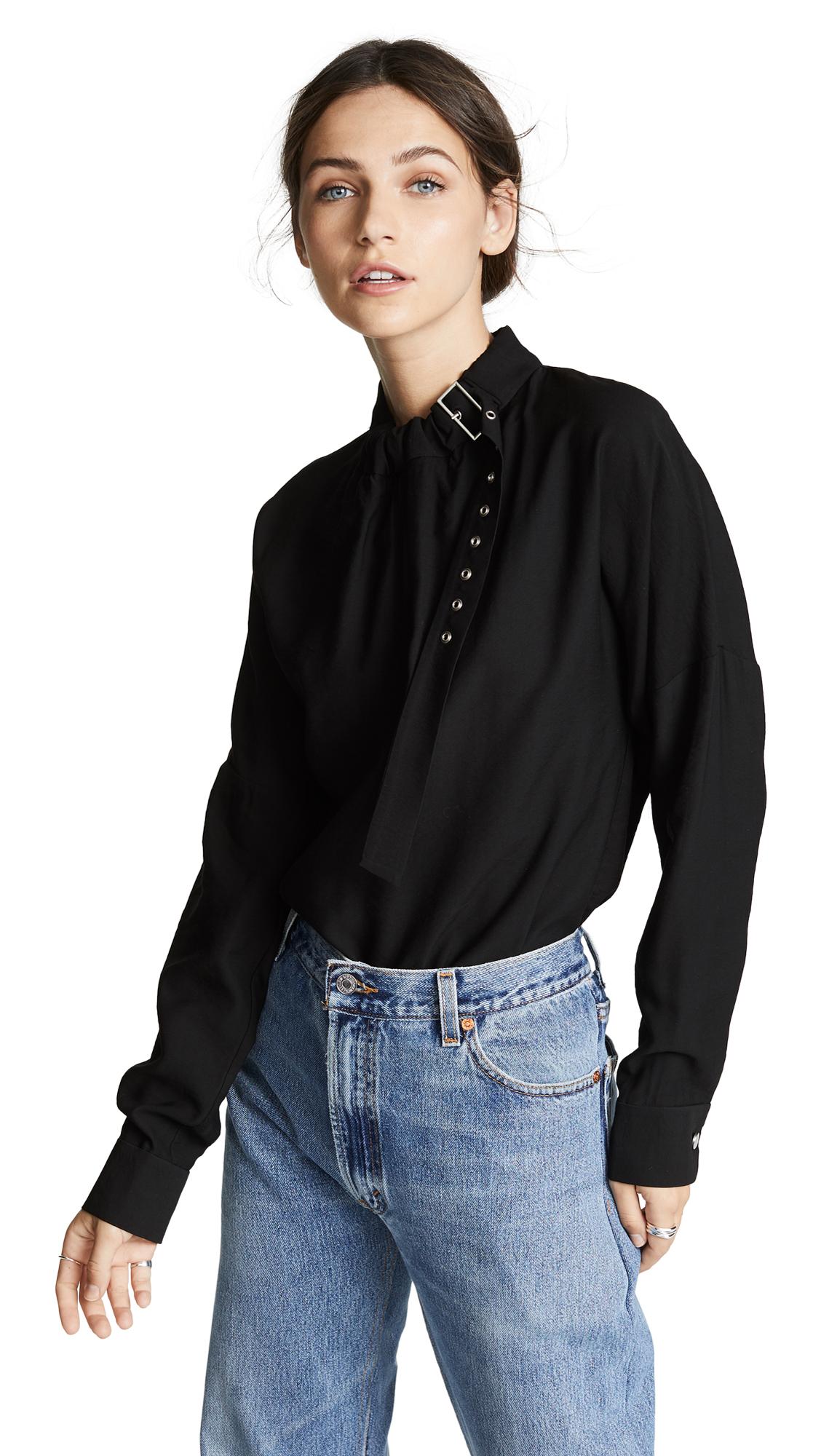 Tibi Long Sleeve Buckle Top In Black