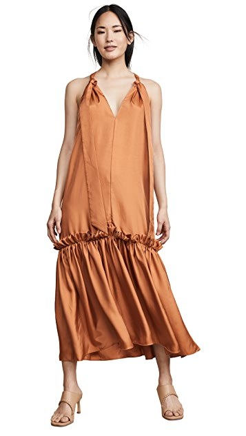 Tibi Tie Neck Long Dress
