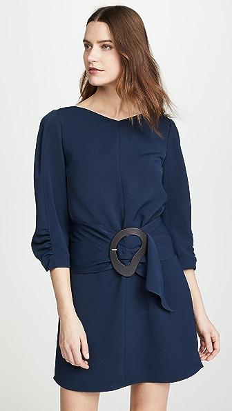 Tibi Dresses SHIRRED SLEEVE DRESS WITH REMOVABLE BELT