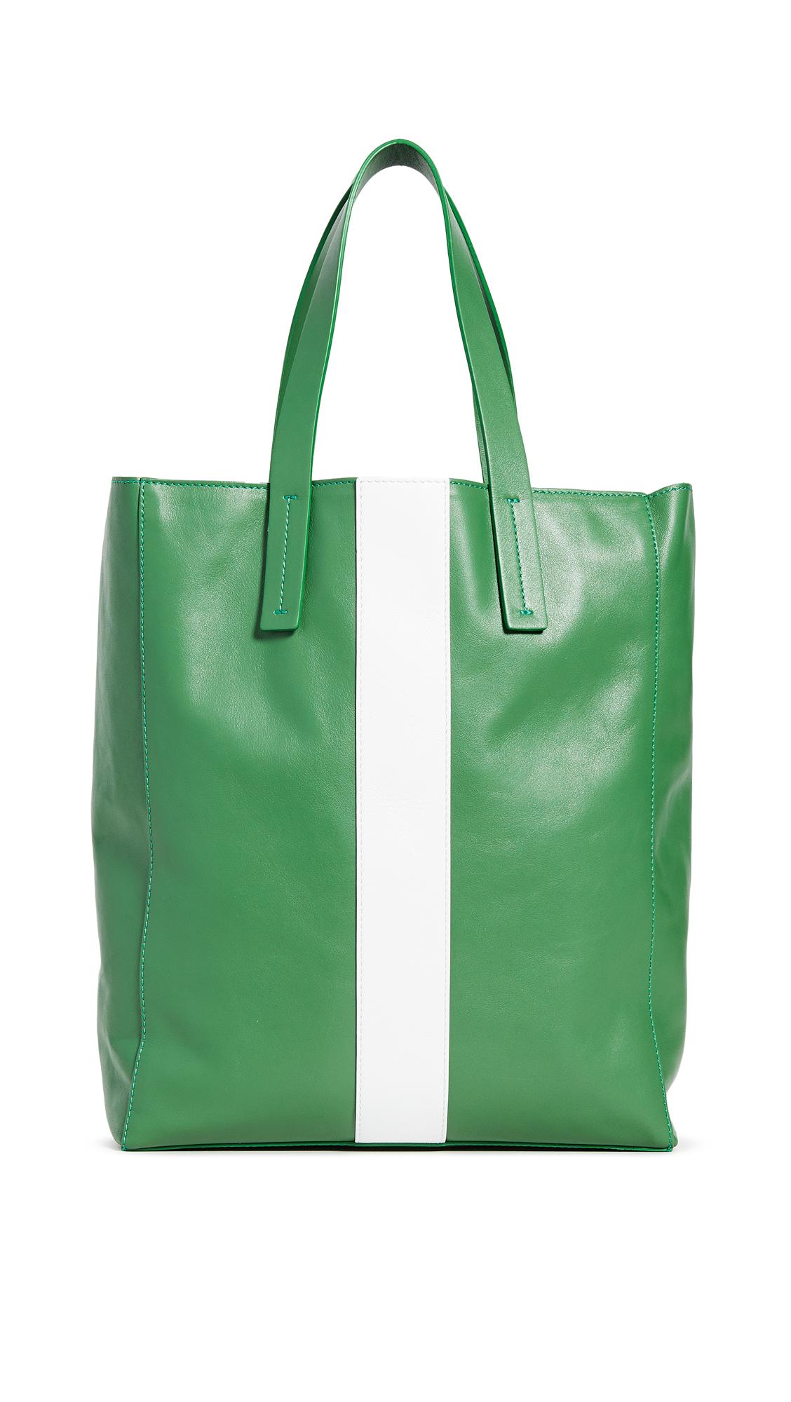 Tibi Le Client Small Tote Bag - Green/White